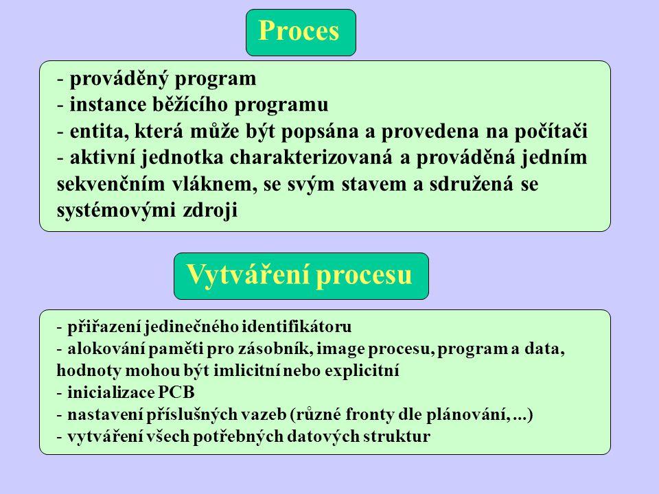 - prováděný program - instance běžícího programu - entita, která může být popsána a provedena na počítači - aktivní jednotka charakterizovaná a prováděná jedním sekvenčním vláknem, se svým stavem a sdružená se systémovými zdroji Proces Vytváření procesu - přiřazení jedinečného identifikátoru - alokování paměti pro zásobník, image procesu, program a data, hodnoty mohou být imlicitní nebo explicitní - inicializace PCB - nastavení příslušných vazeb (různé fronty dle plánování,...) - vytváření všech potřebných datových struktur