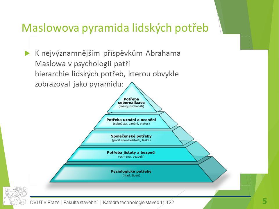 5 ČVUT v Praze Fakulta stavební Katedra technologie staveb 11 122 II Maslowova pyramida lidských potřeb  K nejvýznamnějším příspěvkům Abrahama Maslowa v psychologii patří hierarchie lidských potřeb, kterou obvykle zobrazoval jako pyramidu: