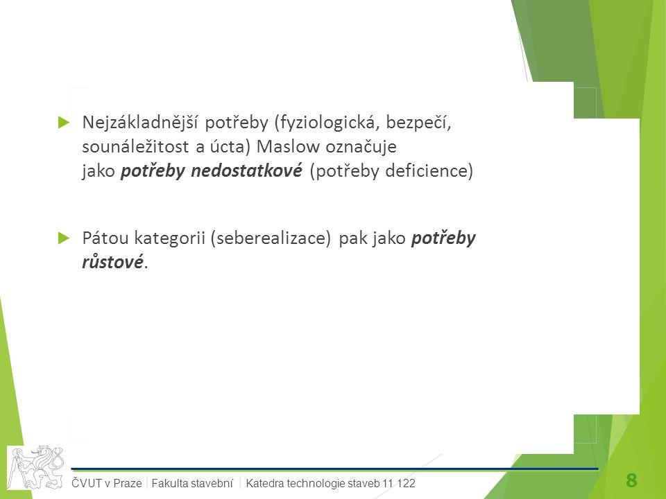 8 ČVUT v Praze Fakulta stavební Katedra technologie staveb 11 122 II  Nejzákladnější potřeby (fyziologická, bezpečí, sounáležitost a úcta) Maslow označuje jako potřeby nedostatkové (potřeby deficience)  Pátou kategorii (seberealizace) pak jako potřeby růstové.
