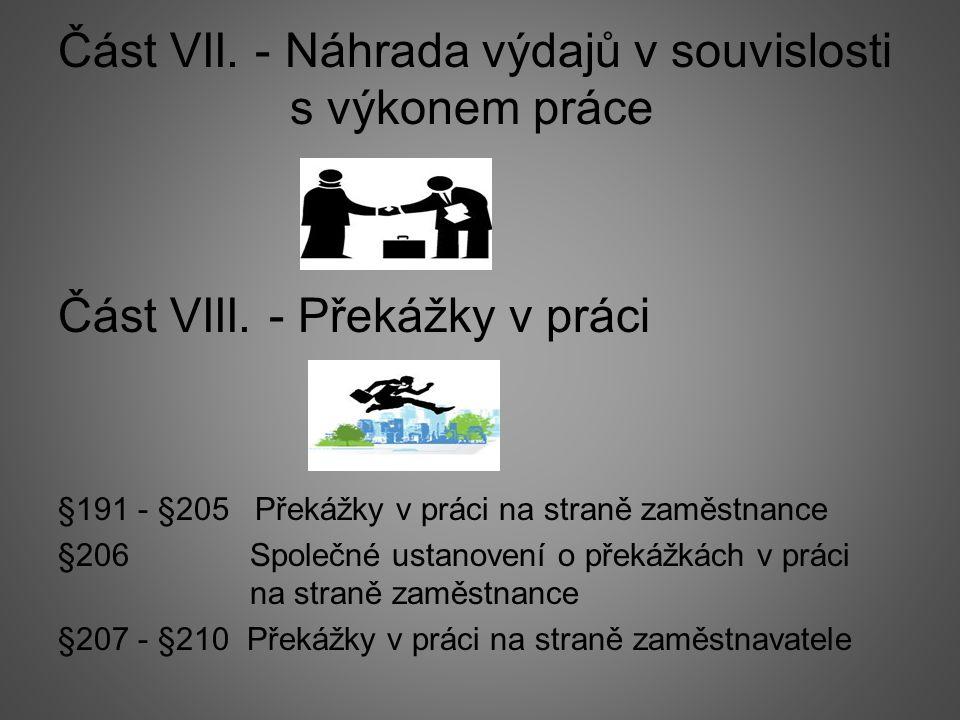 Část VII. - Náhrada výdajů v souvislosti s výkonem práce Část VIII.