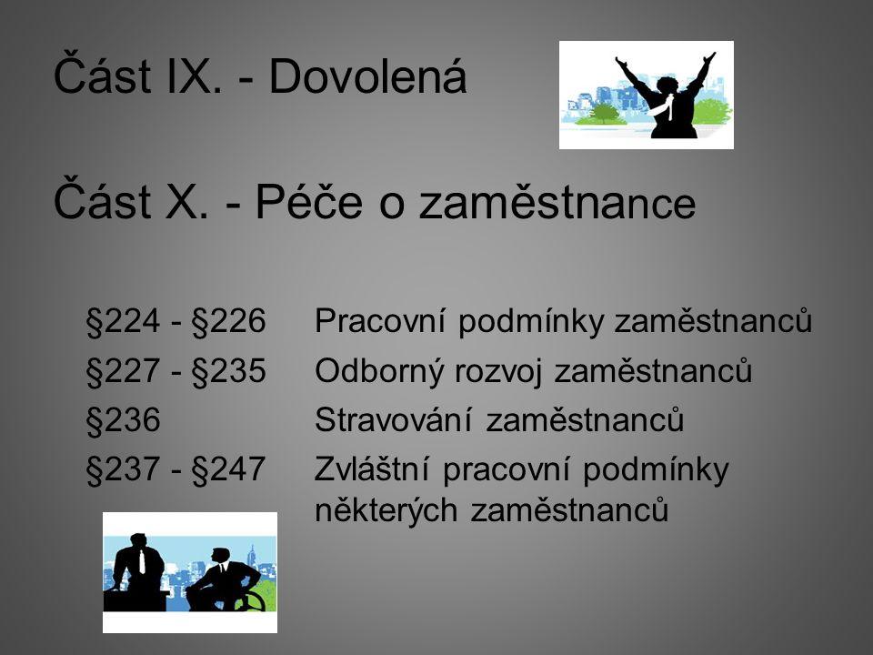 Část IX. - Dovolená Část X.
