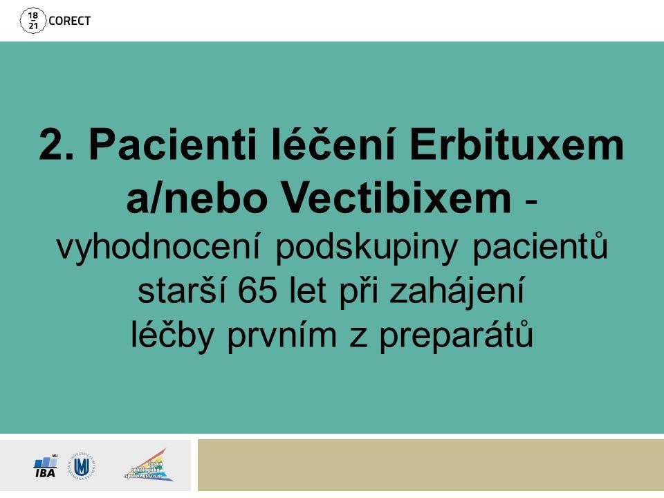 2. Pacienti léčení Erbituxem a/nebo Vectibixem - vyhodnocení podskupiny pacientů starší 65 let při zahájení léčby prvním z preparátů