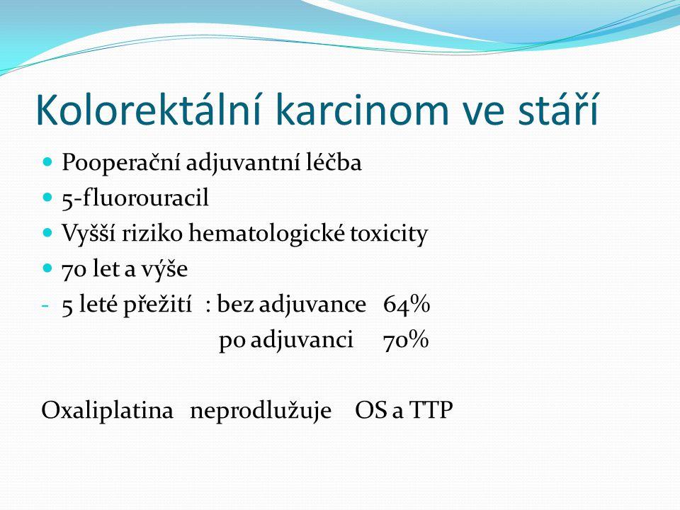 Kolorektální karcinom ve stáří Metastatické onemocnění Cíl léčby -prodloužení přežití -minimální toxicita -dobrá kvalita života