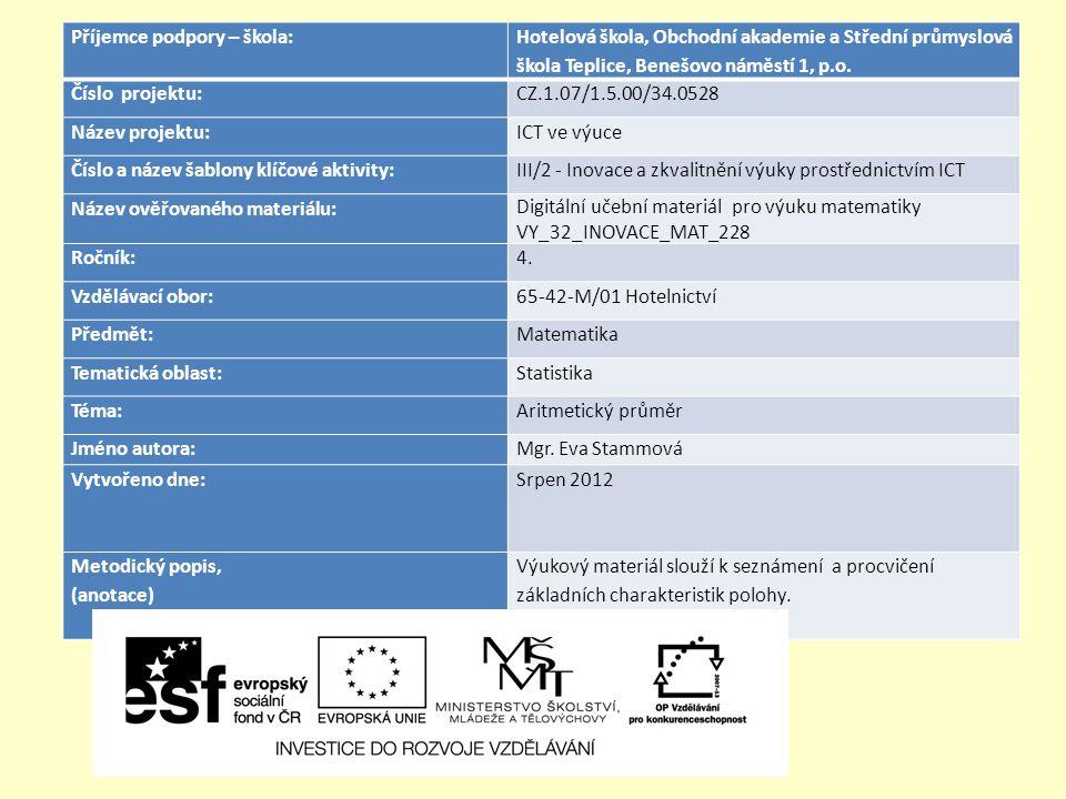 Příjemce podpory – škola: Hotelová škola, Obchodní akademie a Střední průmyslová škola Teplice, Benešovo náměstí 1, p.o. Číslo projektu:CZ.1.07/1.5.00