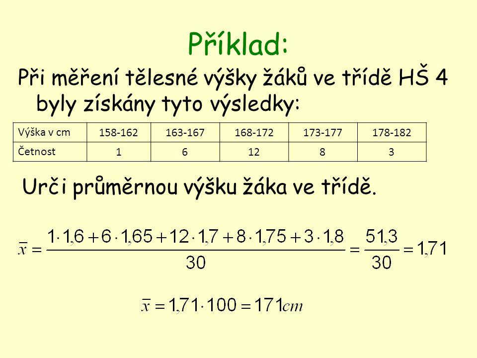 Příklad: Při měření tělesné výšky žáků ve třídě HŠ 4 byly získány tyto výsledky: Výška v cm 158-162163-167168-172173-177178-182 Četnost 161283 Urči průměrnou výšku žáka ve třídě.