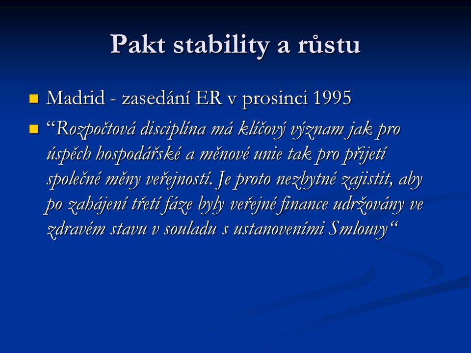 """Pakt stability a růstu Madrid - zasedání ER v prosinci 1995 Madrid - zasedání ER v prosinci 1995 """"Rozpočtová disciplína má klíčový význam jak pro úspě"""