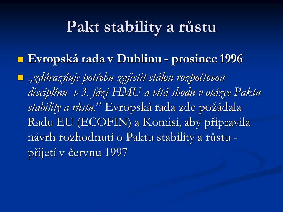 """Pakt stability a růstu Evropská rada v Dublinu - prosinec 1996 Evropská rada v Dublinu - prosinec 1996 """"zdůrazňuje potřebu zajistit stálou rozpočtovou"""