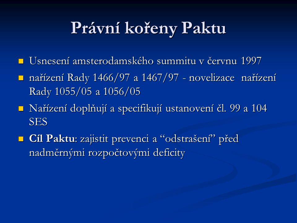 Nařízení Rady 1466/97 - preventivní pilíř Paktu Nařízení Rady 1466/97o posilování dohledu nad stavy rozpočtů a o dohledu nad hospodářskými politika a jejich koordinaci - rozvádí článek 99 SES.