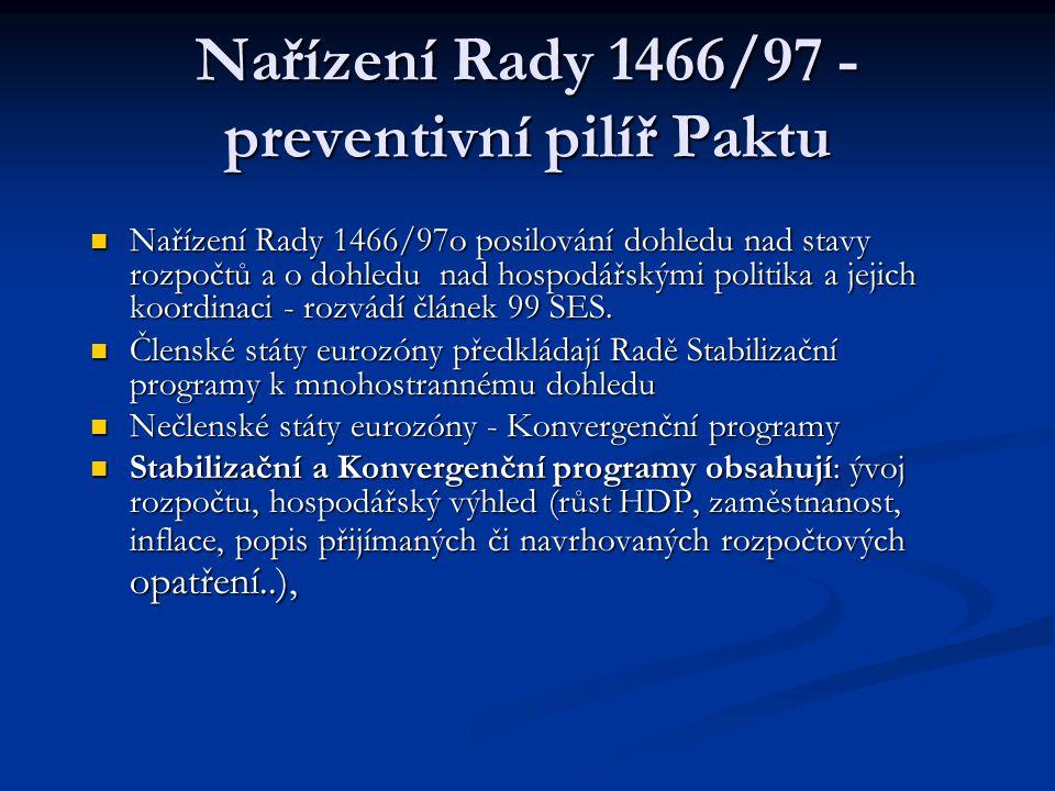 Nařízení Rady 1466/97 - preventivní pilíř Paktu Nařízení Rady 1466/97o posilování dohledu nad stavy rozpočtů a o dohledu nad hospodářskými politika a