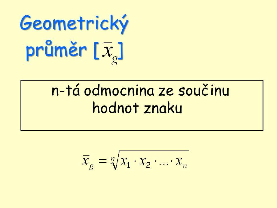 Geometrický průměr [ ] n-tá odmocnina ze součinu hodnot znaku