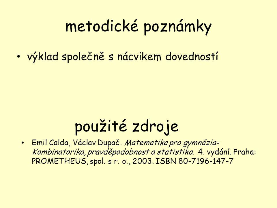 metodické poznámky výklad společně s nácvikem dovedností použité zdroje Emil Calda, Václav Dupač.