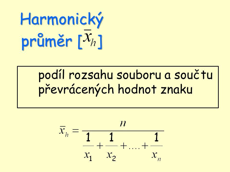 Harmonický průměr [ ] podíl rozsahu souboru a součtu převrácených hodnot znaku