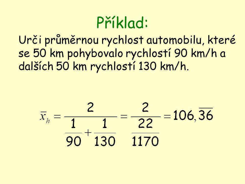 Příklad: Urči průměrnou rychlost automobilu, které se 50 km pohybovalo rychlostí 90 km/h a dalších 50 km rychlostí 130 km/h.