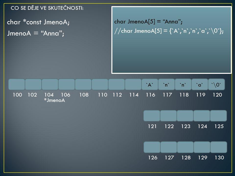 "char *const JmenoA; JmenoA = ""Anna""; `A``n` `a``\0` 100102104106108110112114116117118119120 121122123124125 126127128129130 char JmenoA[5] = ""Anna""; /"