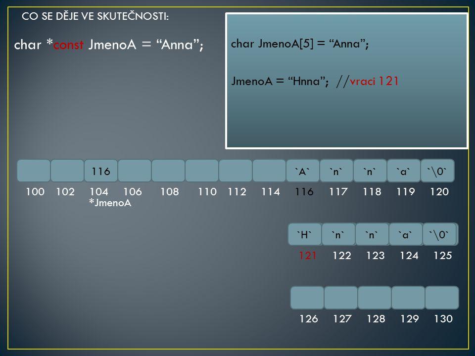 "char *const JmenoA = ""Anna""; 116`A``n` `a``\0` 100102104106108110112114116117118119120 121122123124125 126127128129130 char JmenoA[5] = ""Anna""; JmenoA"