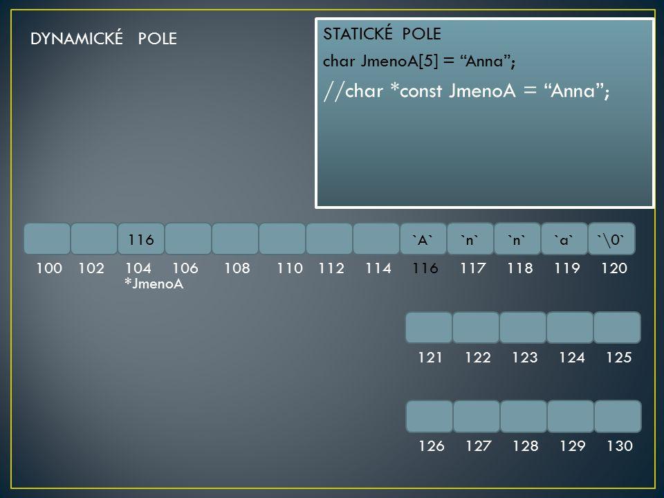 "116`A``n` `a``\0` 100102104106108110112114116117118119120 121122123124125 126127128129130 STATICKÉ POLE char JmenoA[5] = ""Anna""; //char *const JmenoA"