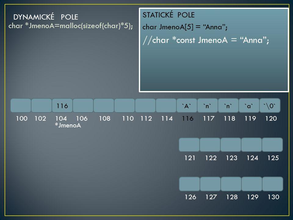 char *JmenoA=malloc(sizeof(char)*5); 116`A``n` `a``\0` 100102104106108110112114116117118119120 121122123124125 126127128129130 DYNAMICKÉ POLE *JmenoA