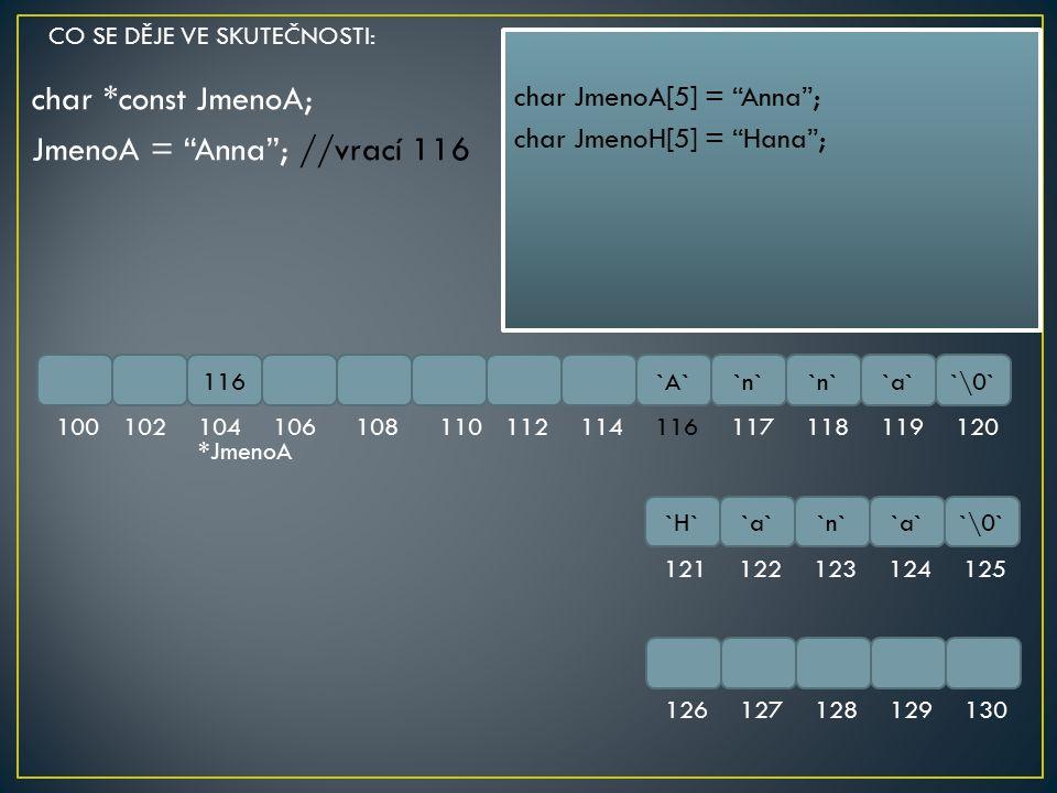 """char *const JmenoA; JmenoA = """"Anna""""; //vrací 116 116`A``n` `a``\0` 100102104106108110112114116117118119120 `H``a``n``a``\0` 121122123124125 1261271281"""