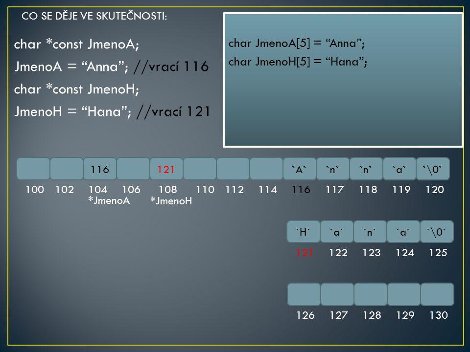 """char *const JmenoA; JmenoA = """"Anna""""; //vrací 116 char *const JmenoH; JmenoH = """"Hana""""; //vrací 121 116121`A``n` `a``\0` 1001021041061081101121141161171"""