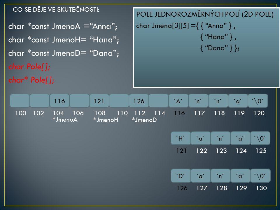 """char *const JmenoA =""""Anna""""; char *const JmenoH= """"Hana""""; char *const JmenoD= """"Dana""""; char Pole[]; char* Pole[]; 116121126`A``n` `a``\0` 100102104106108"""