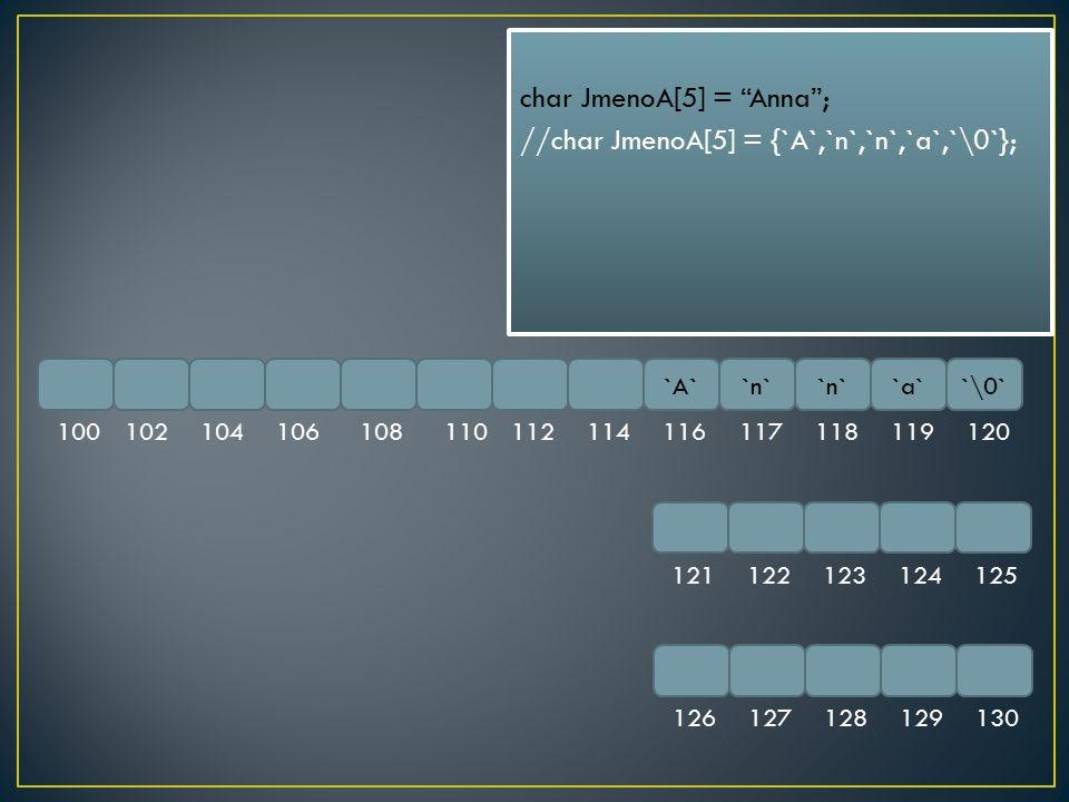 """`A``n` `a``\0` 100102104106108110112114116117118119120 121122123124125 126127128129130 char JmenoA[5] = """"Anna""""; //char JmenoA[5] = {`A`,`n`,`n`,`a`,`\"""