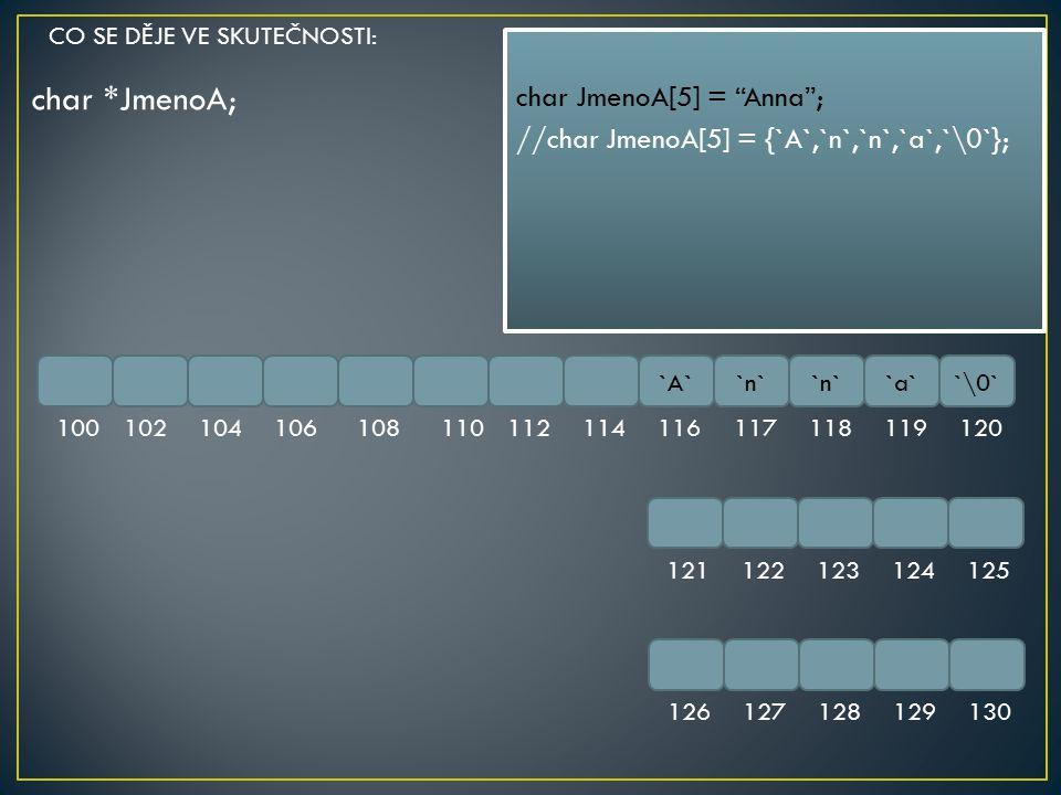 "char *JmenoA; `A``n` `a``\0` 100102104106108110112114116117118119120 121122123124125 126127128129130 char JmenoA[5] = ""Anna""; //char JmenoA[5] = {`A`,"