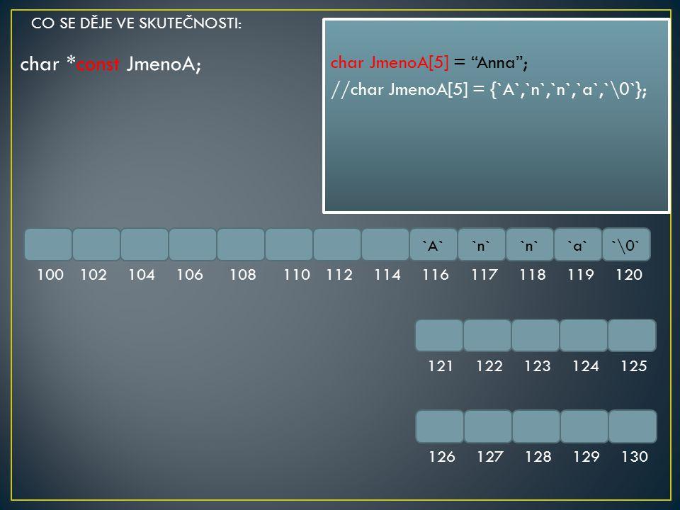 "char *const JmenoA; `A``n` `a``\0` 100102104106108110112114116117118119120 121122123124125 126127128129130 char JmenoA[5] = ""Anna""; //char JmenoA[5] ="