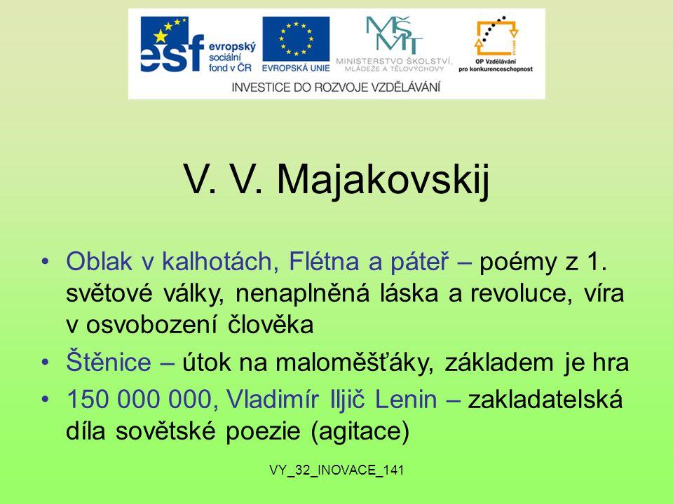 V.V. Majakovskij Oblak v kalhotách, Flétna a páteř – poémy z 1.