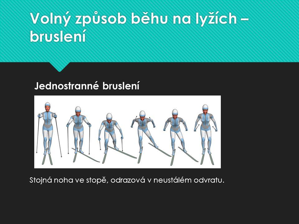 Běžecké lyžování - klasická technika Soupažný běh jednodobý Zabírání oběma hůlkami. Soupažný běh jednodobý Zabírání oběma hůlkami.
