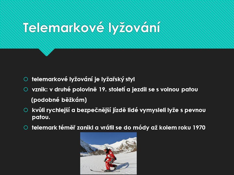 Telemarkové lyžování  telemarkové lyžování je lyžařský styl  vznik: v druhé polovině 19.