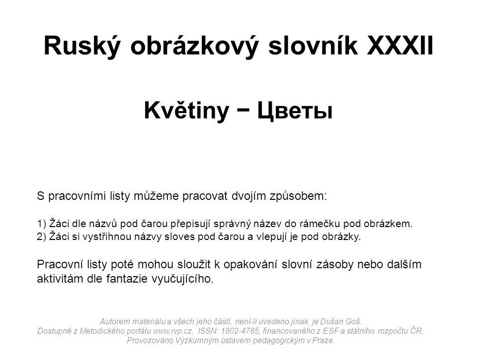 Ruský obrázkový slovník XXXII Květiny − Цветы Autorem materiálu a všech jeho částí, není-li uvedeno jinak, je Dušan Goš.