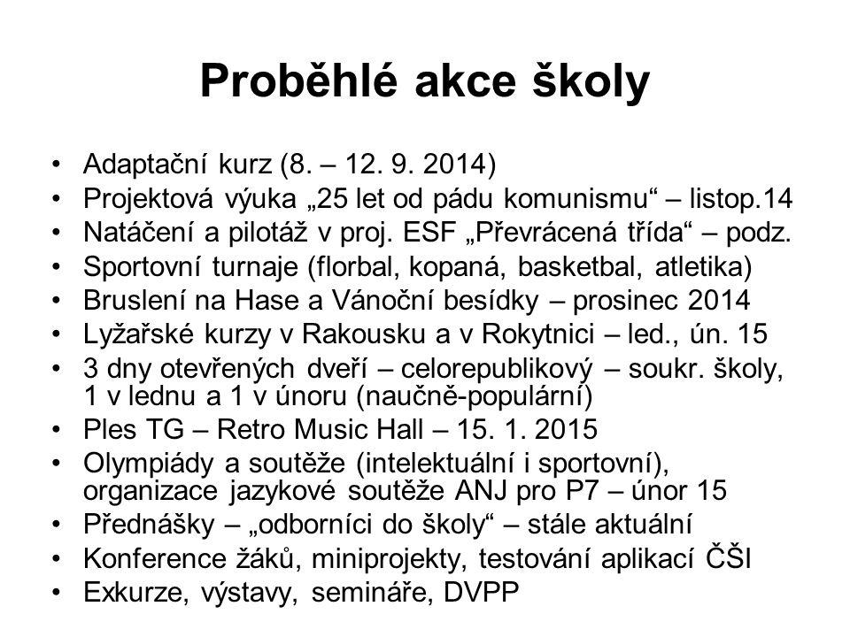 """Proběhlé akce školy Adaptační kurz (8. – 12. 9. 2014) Projektová výuka """"25 let od pádu komunismu"""" – listop.14 Natáčení a pilotáž v proj. ESF """"Převráce"""
