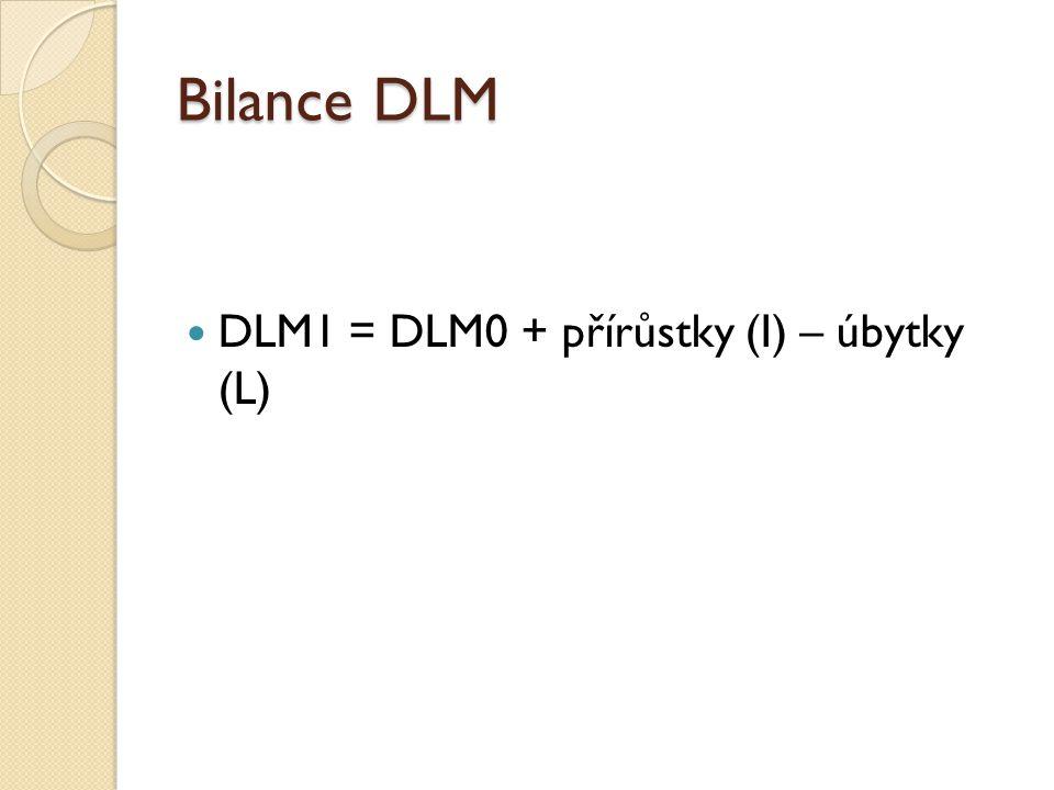 Bilance DLM DLM1 = DLM0 + přírůstky (I) – úbytky (L)