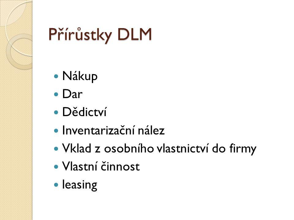 Přírůstky DLM Nákup Dar Dědictví Inventarizační nález Vklad z osobního vlastnictví do firmy Vlastní činnost leasing
