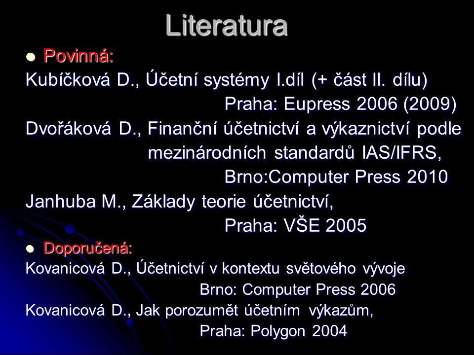 Literatura Povinná: Povinná: Kubíčková D., Účetní systémy I.díl (+ část II.