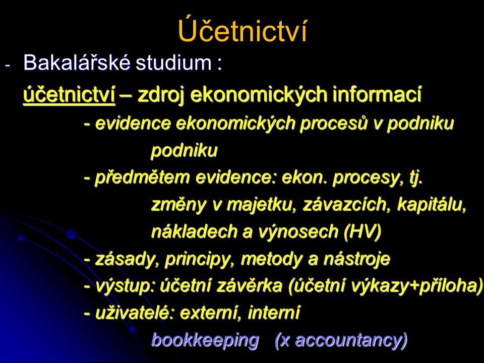 Účetnictví - Bakalářské studium : účetnictví – zdroj ekonomických informací účetnictví – zdroj ekonomických informací - evidence ekonomických procesů v podniku - evidence ekonomických procesů v podniku podniku podniku - předmětem evidence: ekon.