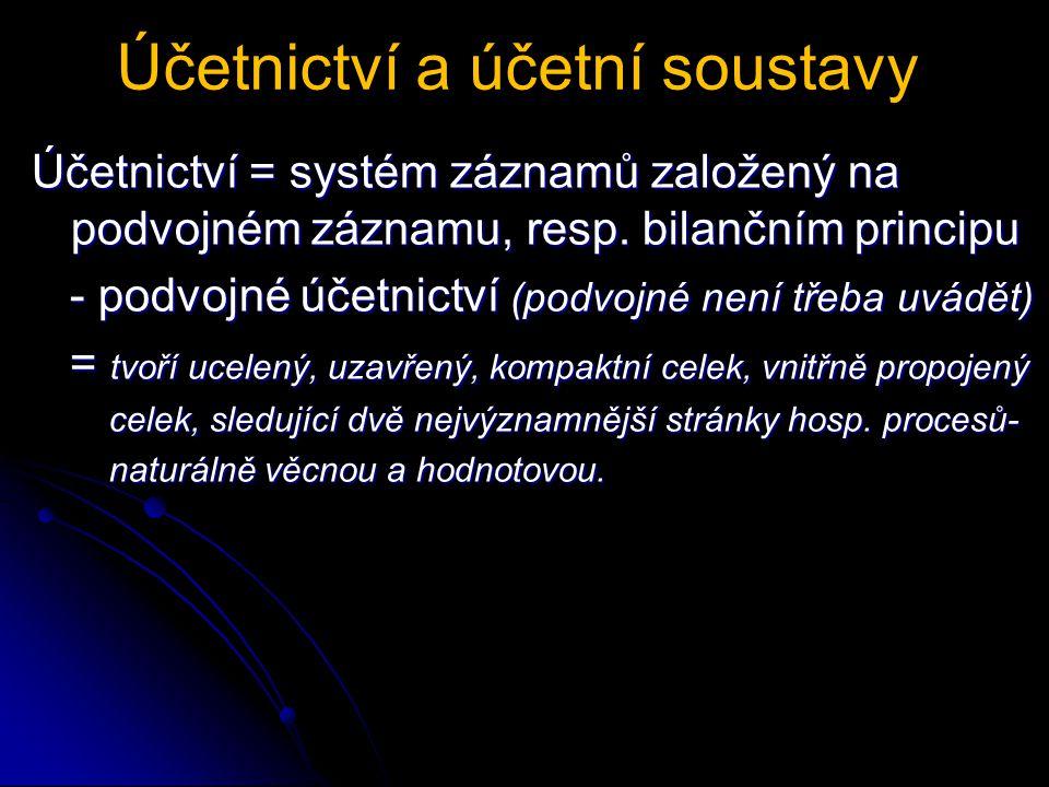Účetnictví a účetní soustavy Účetnictví = systém záznamů založený na podvojném záznamu, resp.