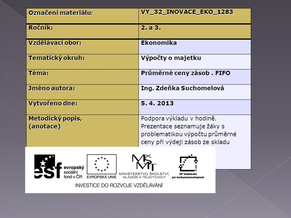 Označení materiálu : VY_32_INOVACE_EKO_1283Ročník: 2.