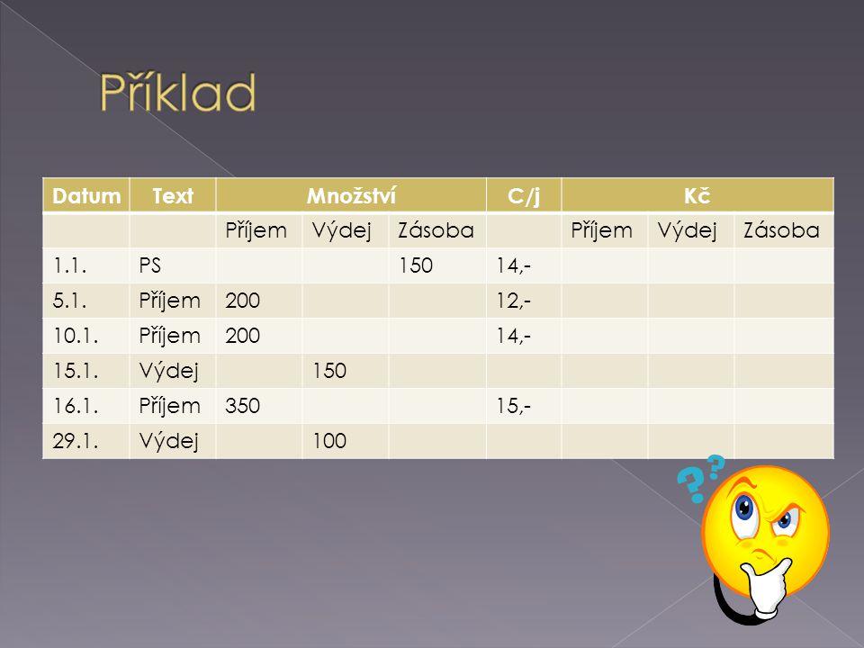 DatumTextMnožstvíC/jKč PříjemVýdejZásobaPříjemVýdejZásoba 1.1.PS15014,- 5.1.Příjem20012,- 10.1.Příjem20014,- 15.1.Výdej150 16.1.Příjem35015,- 29.1.Výdej100