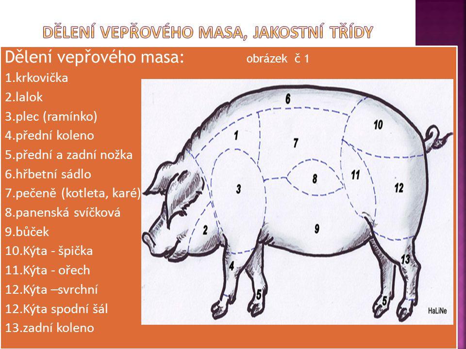Dělení vepřového masa: obrázek č 1 1.krkovička 2.lalok 3.plec (ramínko) 4.přední koleno 5.přední a zadní nožka 6.hřbetní sádlo 7.pečeně (kotleta, karé