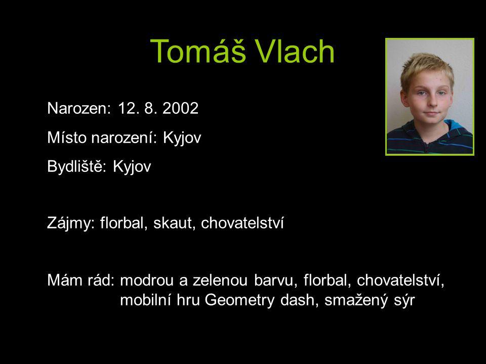 Tomáš Vlach Narozen: 12. 8. 2002 Místo narození: Kyjov Bydliště: Kyjov Zájmy: florbal, skaut, chovatelství Mám rád: modrou a zelenou barvu, florbal, c