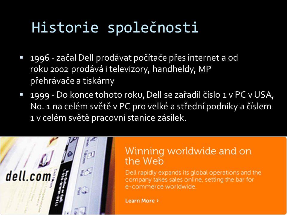 Historie společnosti  1996 - začal Dell prodávat počítače přes internet a od roku 2002 prodává i televizory, handheldy, MP přehrávače a tiskárny  19
