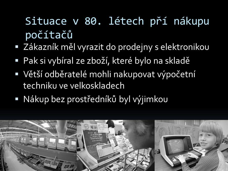 Situace v 80. létech pří nákupu počítačů  Zákazník měl vyrazit do prodejny s elektronikou  Pak si vybíral ze zboží, které bylo na skladě  Větší odb