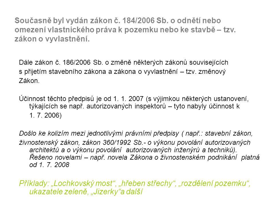 Dále zákon č.186/2006 Sb.