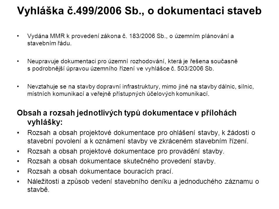 Vyhláška č.499/2006 Sb., o dokumentaci staveb Vydána MMR k provedení zákona č.