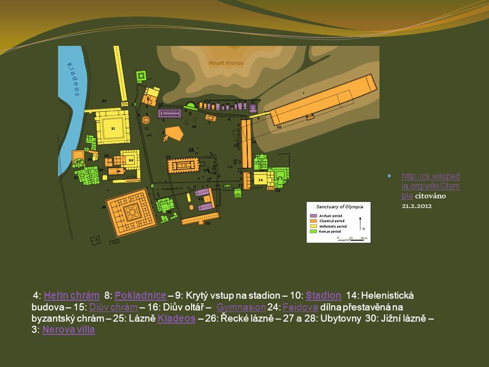 http://cs.wikiped ia.org/wiki/Olym pia citováno 21.2.2012 http://cs.wikiped ia.org/wiki/Olym pia 4: Heřin chrám 8: Pokladnice – 9: Krytý vstup na stad