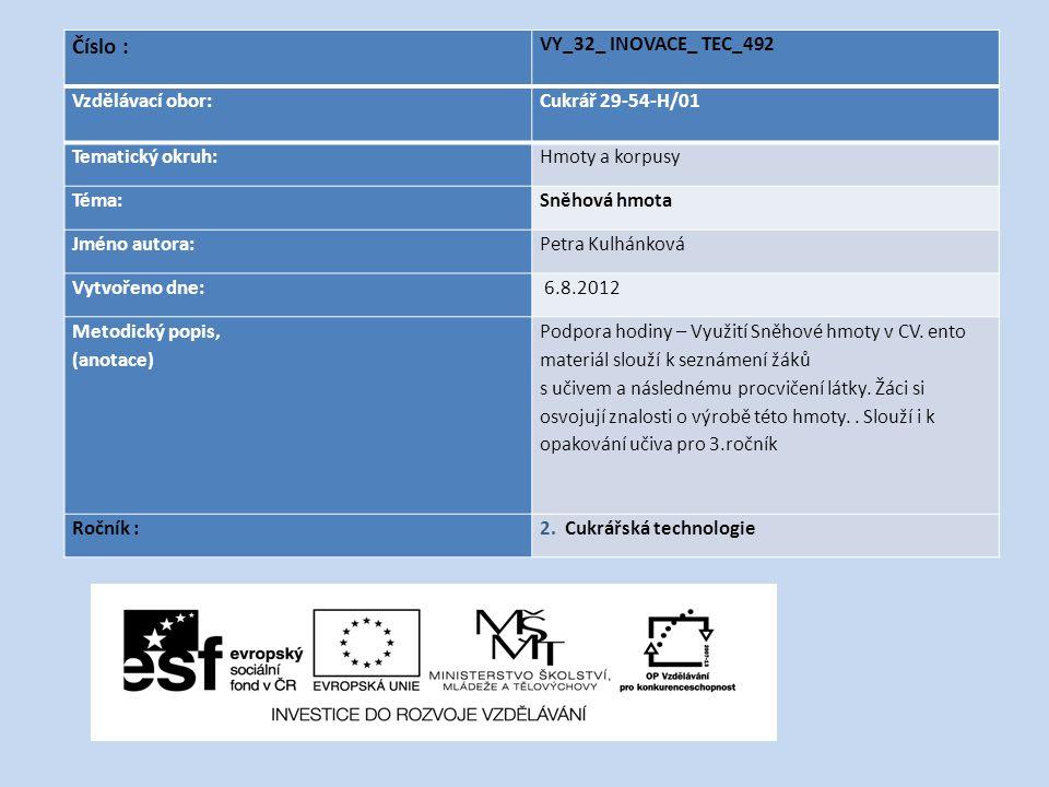 Číslo : VY_32_ INOVACE_ TEC_492 Vzdělávací obor: Cukrář 29-54-H/01 Tematický okruh:Hmoty a korpusy Téma:Sněhová hmota Jméno autora:Petra Kulhánková Vy