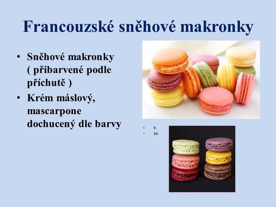 Francouzské sněhové makronky Sněhové makronky ( přibarvené podle příchutě ) Krém máslový, mascarpone dochucený dle barvy 9 9. 10.