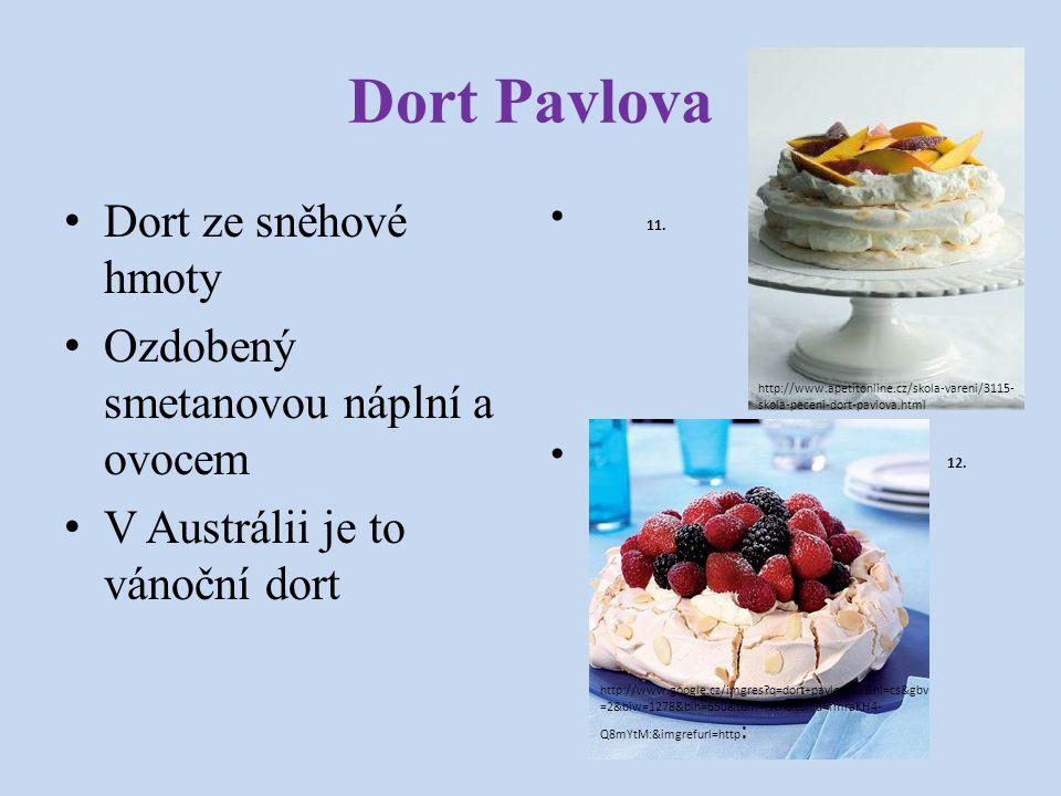 Dort Pavlova Dort ze sněhové hmoty Ozdobený smetanovou náplní a ovocem V Austrálii je to vánoční dort 11. 12. http://www.apetitonline.cz/skola-vareni/