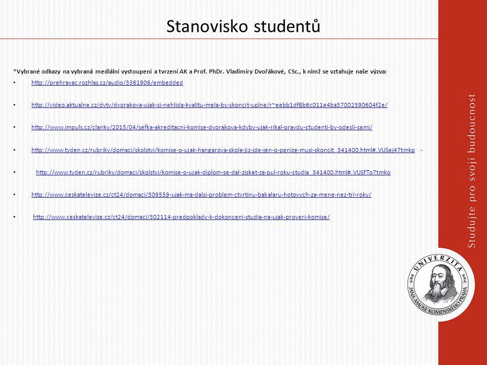 Stanovisko studentů *Vybrané odkazy na vybraná mediální vystoupení a tvrzení AK a Prof. PhDr. Vladimíry Dvořákové, CSc., k nimž se vztahuje naše výzva